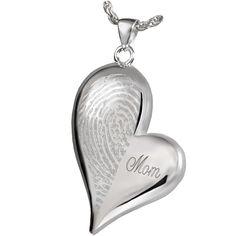 Fingerprint Cremation Jewelry Teardrop Heart