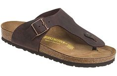 Birkenstock Ramses  Habana Oiled Leather  $120     This flip sandal has a classic European look with fully adjustable buckle that will fit most feet. Supportive contoured cork footbed has Birkenstock's renown comfort and is lined with moisture-absorbent soft suede. A deep heel cup provides stability while walking. EVA soles are lightweight, flexible and provide some cusioning. Resoleable.