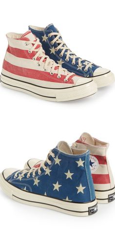 Converse Chuck Taylor high top sneakers in American flag pattern. I'm not a huge fan of flag clothing and shoes, but these Chuck Taylors are some seriously nice high tops. Converse Outfits, Converse All Star, Cool Converse, Converse Sneakers, Converse Chuck Taylor, High Top Sneakers, Boot Outfits, Wedge Sneakers, Girl Outfits