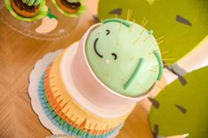 La Fiesta birthday party, pastel color palete, cactus party, cactus cake and cupcake. First birthday decoration for baby boy. Mexican Fiesta!