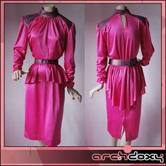 Vintage 1980s Shocking Pink Metallic Shoulder Pelmet Pencil New Wave Dress #vintagedress http://www.ebay.co.uk/itm/Vintage-1980s-Shocking-Pink-Metallic-Shoulder-Pelmet-Pencil-New-Wave-Dress-UK12-/282041399824