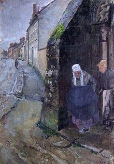 Søndag morgen, Grez (skisse) [Maleri]Christian Krogh.