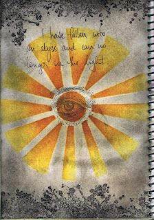 """My Journal - """"Abyss""""  Used my own stencil, distress ink, stamper's anonymous stamp and stampin' up stamp"""
