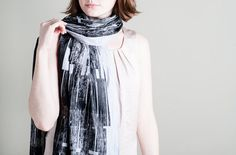 Pale Blue Scarf with Black Screen Printed Urban by LeeCoren, ₪152.00