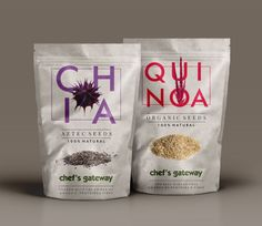 Chef's Gateway CHIA & QUINOA Packaging: Chef's Gateway - a HORECA (Hotel/Restaurant/Cafe) Industry supplier approached hdegree to get their packaging for Chia & Quinoa seeds, designed by us. Previously the firm sourced these seeds from vendors and sold them in transparent plastic packets. Since there was already a hoard of mundane looking organic packaging flooding the shelves, together we decided to add a fresh perspective. Thus our basic approach was to create a packaging that s...