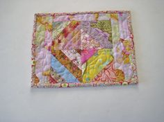 Handmade Quilted Mug Rug  175  Mini Quilt Snack by PeppersAttic