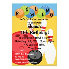 451 best bowling birthday party invitations images in 2018