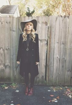 Zara Black Coat, Modern Vice Ox Blood Jett Boots, Free People Top, The Sneerwell Time Keepers Pendent