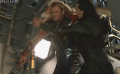 Avengers behind the scenes *gif* Thor grabs Loki from the quinjet