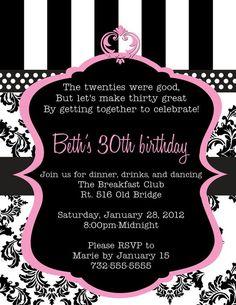 The big 30 30th birthday invitation custom printable by manuni pink damask and stripes birthday printable birthday invitation diy filmwisefo Images