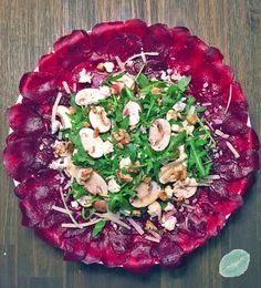 Rote Beete Carpaccio mit Ruccola und Ziegenkäse Roasted Beets, Snacks Für Party, Bruschetta, Vegetable Pizza, Vegan Vegetarian, Cabbage, Vegan Recipes, Clean Eating, Brunch