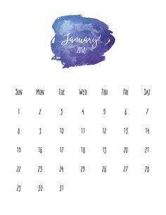 January 2017 Free Pretty Printable Watercolor Calendar To Download And Print