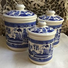Vintage Blue Willow Canister Set / Blue and White Kitchen Decor / 6 piece by SunshineVintageGoods on Etsy