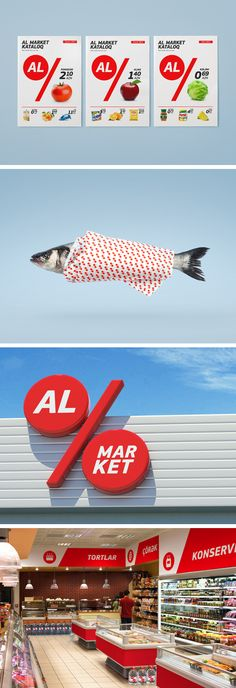 Al Market is a new, discount grocery store in Azerbaijan that wanted it to be… Identity Design, Brand Identity, Logo Design, Farmers Market Logo, Supermarket Logo, Price Tag Design, Private Brand, Discount Grocery, Bakery Design