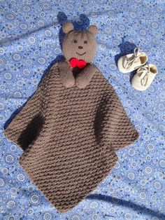 """Free knitting pattern for Teddy Bear Lovey - Finished measurement: 15"""" x 15"""" Also known as blanket buddy, lovey, lovie, comfort blanket, blanket toy, blankie, security blanket, woobie, cuddle."""