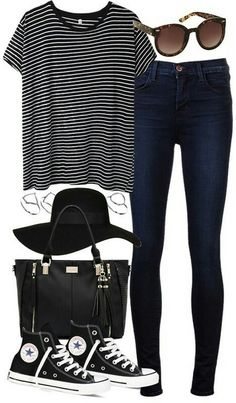 Black out on a sunny day. Striped shirt, jeans, shades, black tote, and high top black converse.