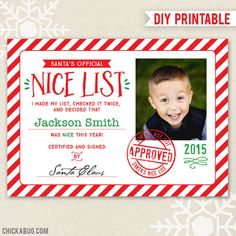 Santa's Nice List Certificate  DIY printable Official by Chickabug