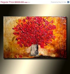 Original large palette knife red floral by newwaveartgallery, $540.00