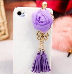 roses tassels Samsung iPhone dust plug purple for $7 Only! Shop Now! for order queries inbox us at https://www.facebook.com/Glamourforgirls or email us at glamourous_girls@hotmail.com