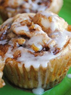 Recipe for Apple Cinnamon Roll Cupcakes - These cinnamon roll cupcakes are ridiculously good... think cinnamon roll without the need for a fork.  They are still a little messy - even with the wrappers, but in a good way.