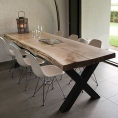 Wood & # Shop- Odun' Shop Wood & # Shop - Mutfak – home accessories Steel Table Legs, Wooden Dining Tables, Dining Table Design, Dining Room Table, Palette Deco, Live Edge Furniture, Living Room Inspiration, Shops, Dinner Room