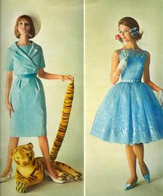 Seventeen Magazine 1962 blue dress 60s full skirt sheath suit party color photo print ad models magazine