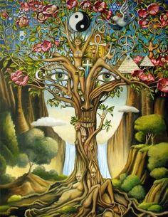 Love Tree Hippie Canvas Wall Decor, Canvas Artwork, Alex Grey Paintings, Alex Gray Art, Grey Art, Tree Of Life Art, Black Light Posters, Poster Prints, Art Prints