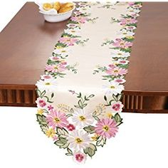 Embroidered Floral Gerbera Daisy Table Linens, Multi , Runner