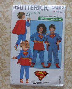 Niños Superman y Supergirl traje costura patrón sin cortes