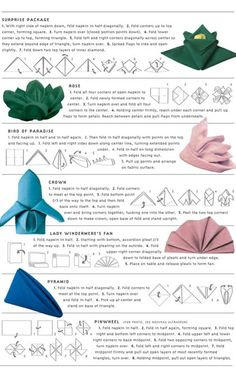 {DIY Napkin Folding} 7 Easy Ways to Fold a Napkin....definitely trying one of these for my next dinner party!!!!