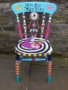 Hand Painted Chairs, Whimsical Painted Furniture, Hand Painted Furniture, Funky Furniture, Repurposed Furniture, Painted Tables, Furniture Ideas, Cheap Furniture, Painted Stools