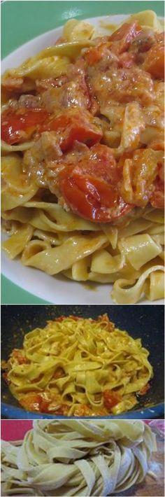 Fettuccine pancetta e pomodorini! #fettuccine #pancetta #pomodori #ricettegustose