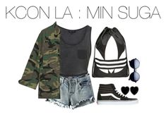 """KCON LA : MIN SUGA"" by kookiechu ❤ liked on Polyvore featuring Chicnova Fashion, NLST, Vans, Dollydagger and adidas"