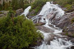 Sapphire Falls cascades from Sapphire Lake in McCullough Gulch, near Breckenridge, Colorado