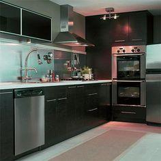 Beautiful Elegant Dark Kitchens Design Idea : Stainless Steel Range Hood Ikea Spacemaker Elegant Dark Kitchens