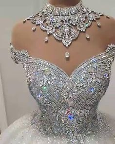 Luxurious Crystal High-Neck Ball Gown Wedding Dresses 2019 Tulle Bridal Gowns On Sale Item Code: Crystal Wedding Dresses, Tulle Wedding, Bridal Dresses, Wedding Gowns, Bridesmaid Dresses, Crystal Dress, Wedding Dresses With Bling, Mermaid Wedding, Diamond Wedding Dress