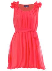 @jenna Coral ruffle shoulder dress
