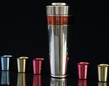 Cocktail Shaker Set with 6 Cups 1950s 1960s Anodized Aluminum Vintage Cocktail Set Mid Century Modern Space Age Rockabilly Atomic 50s 60s