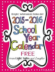 Editable FREE Bright Polka Dot Monthly Calendars 2015-2016