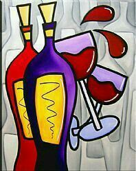 Two 4 Two - Wine 79 - by Thomas C. Fedro from All Art Galleries Arte Pop, Wine Painting, Modern Pop Art, Wine Art, Paint And Sip, Art Portfolio, Whimsical Art, Painting Inspiration, Art Lessons