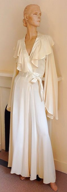 Ossie Clark 1970's Moss Crepe Vanilla Wrap by treasureswardrobe, I got married in this dress