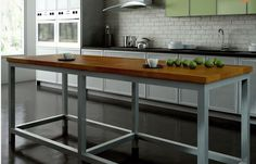 Element Designs' Aluminum frame base system used for a kitchen island with a wood top