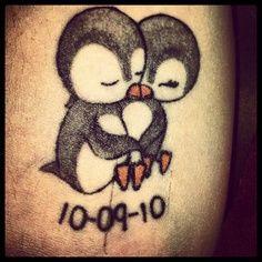 Penguin love tattoo