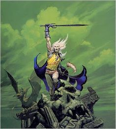 More Fantasy than SciFi. Grew up on the Elric books by Michael Moorcock. Elric, an Eternal Champion, is an albino emperor with a sword that drinks souls. Awesome.