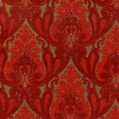 Burgundy and Red Kismet Ornate Indian damask velvet flocked wallpaper: VCC0655