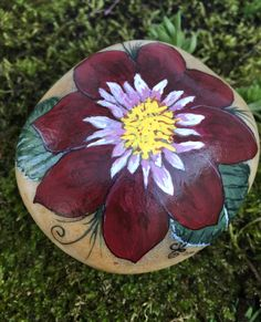 Hand Painted Bohemian Dahlia Flower Stone by EmmysHeartsnCrafts on Etsy