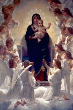 The Virgin with Angels by William Bougeureau (1825-1905)