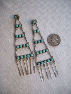 Vintage zuni sterling silver turquoise needlepoint chandelier vintage zuni petit point turquoise sterling silver chandelier ladder earrings super long 425 aloadofball Gallery