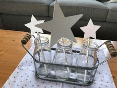 Star bottle centerpiece from a Rustic Twinkle Star Gender Reveal Baby Shower on KARA'S PARTY IDEAS   KarasPartyIdeas.com (26)