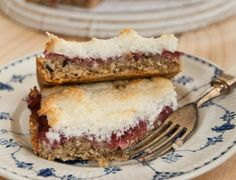 rhubarb macaroon slice--skip the oats, just use extra quinoa flakes (or finely chopped nuts, or both), and sub honey or maple syrup for the rice malt.